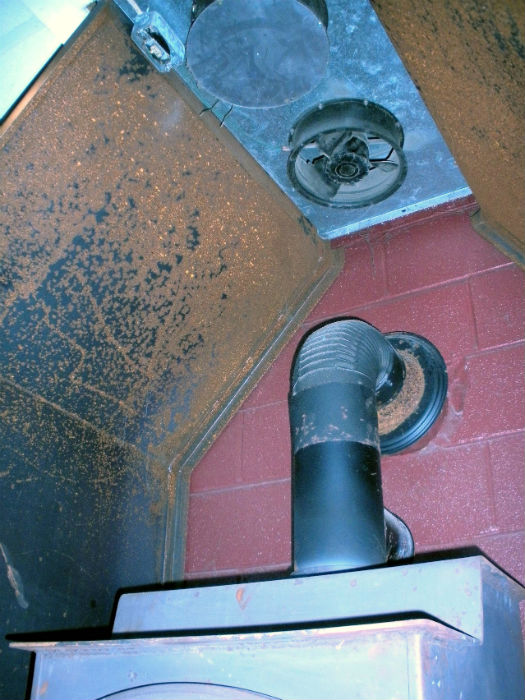 wood stove with fan blower above