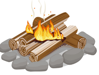 firewood stacked sideways with orange flames graphic