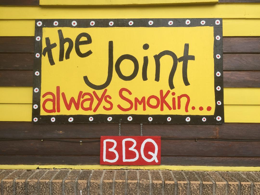 always smokin bbq sign at the joint restaurant