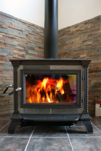 woodstove with fire burning inside