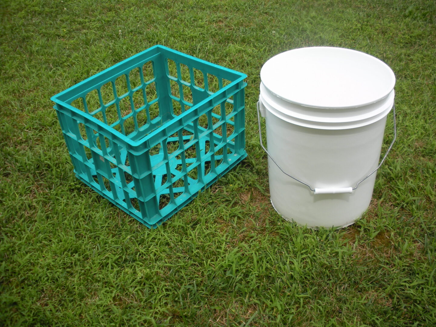 milk crate and 5 gallon bucket
