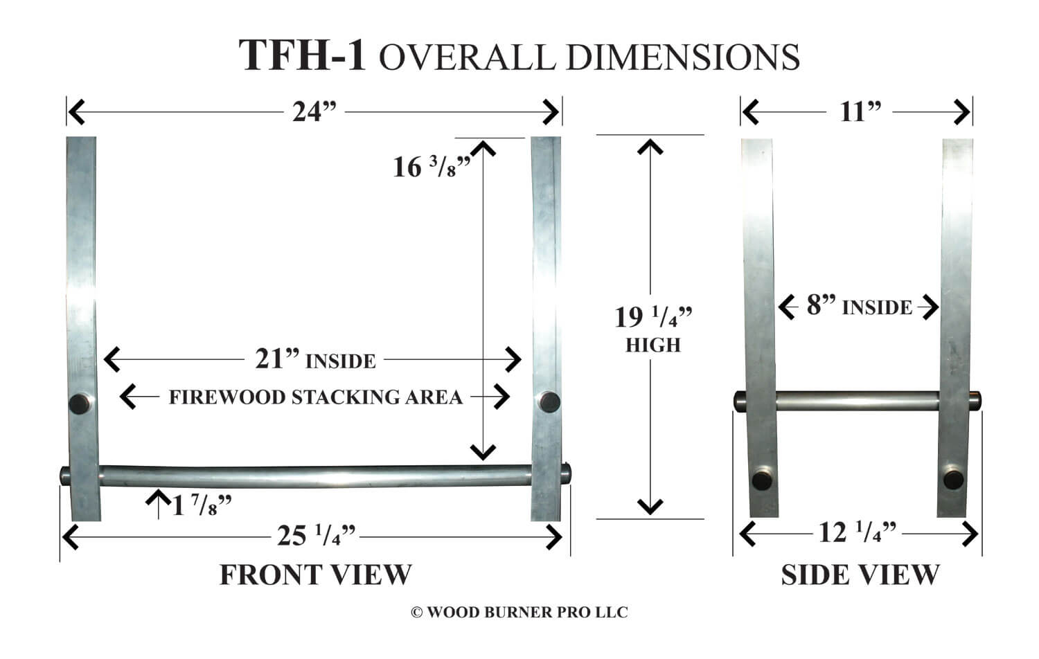 image of aluminum firewood holder frame showing overall dimensions