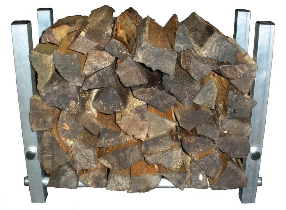 image of aluminum TFH-1 firewood holder filled with split firewood